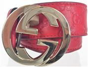 GUCCI GUCCISSIMA BELT WITH INTERLOCKING G SZ 40 RED